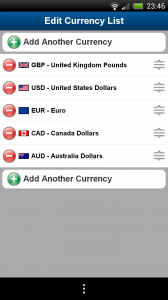 XE Currency - Add and remove currencies from main screen