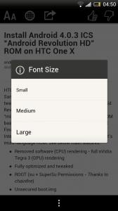 Zite - Font size