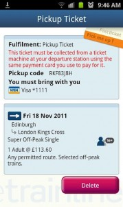 thetrainline - Pickup ticket