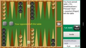 Backgammon GC - Opponent left table :(