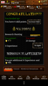 Civilisation War - Mission Mastery of Hunting at level 1