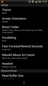 Maple MP3 Player - Settings menu