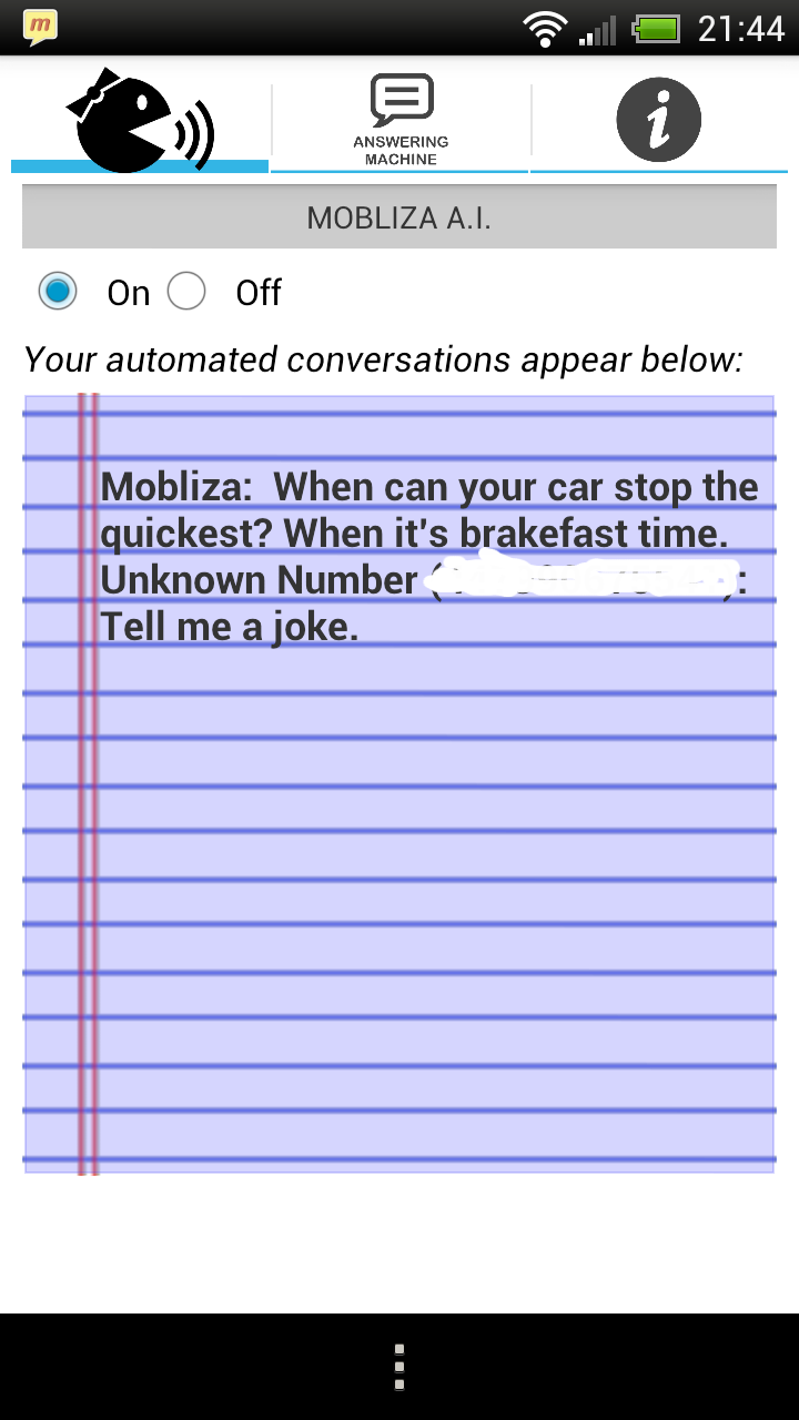 text answering machine