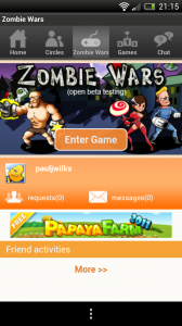 Zombie Wars - Papaya sign-in