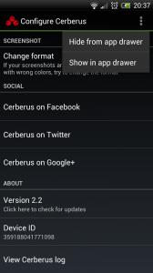 Cerberus - Hide options