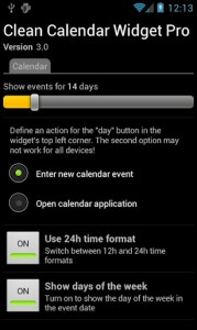 Clean Calendar Widget Settings on Phone