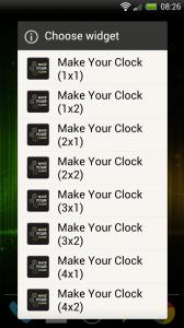 Make Your Clock Widget - Choose widget size