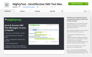 MightyText - Chrome Web Store view
