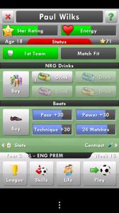New Star Soccer - Main dashboard
