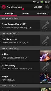Songkick Concerts - List of concerts local to me, with tabbed lists of other locations