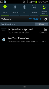 AreYouThereYet Alert from Notifications Bar