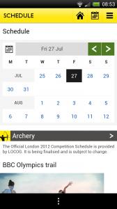 BBC Olympics - Schedule calendar