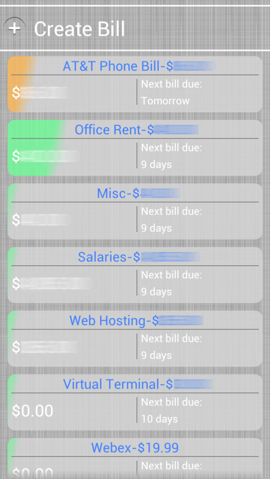 Bill Burner – Budget & Reminder app for Android