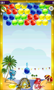 Dino Bubble Shooter 2 - Aim from the launcher or point in the direction you want to fire