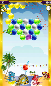 Dino Bubble Shooter 2 - Birds drop bubbles to add to your problems. Tap them three times to prevent this happening