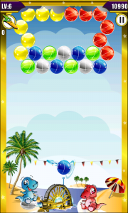 Dino Bubble Shooter 2 - Bounce bubbles off walls to reach tricky places