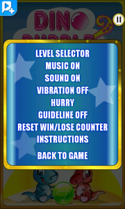 Dino Bubble Shooter 2 - Pause menu
