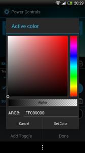 Power Controls - Colour selection
