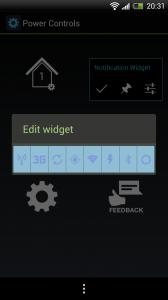 Power Controls - Edit widget screen
