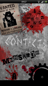 Foneclay - Horrorfone homescreen; links to contacts, apps, messages, dialler and more