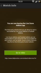 Live Score Addicts - Leave app warning