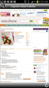 Recipe Search for Android Recipe from Web
