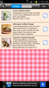 Recipe Search for Android Search Bookmarks