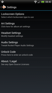 Rocket Music Player - Settings