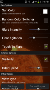 Solar Power Live Wallpaper Settings
