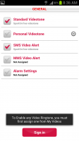 SportOn Video Ringtones General Settings Menu