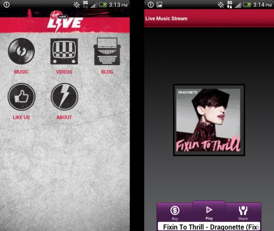 Virgin Mobile Live Music Streaming App