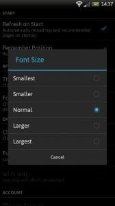 Webby - Font size options
