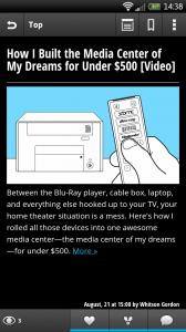 Webby - News story view in dark theme