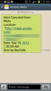 BeeSafe Text Message Alert