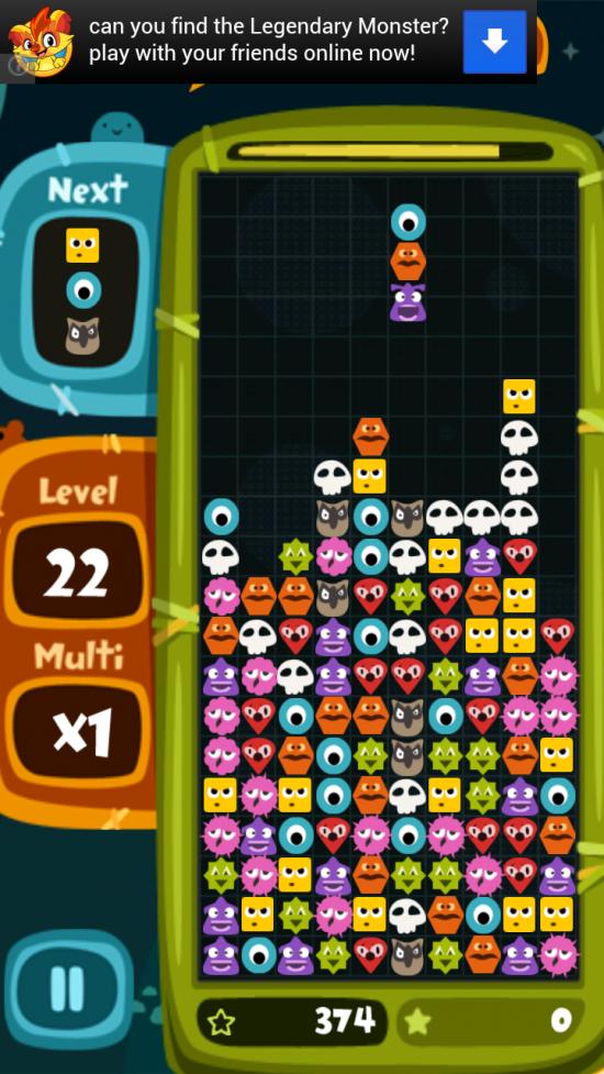Monster Blocks – highly addictive cross between Tetris & Bejeweled