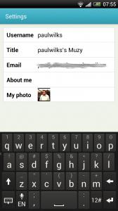 Muzy - Account settings