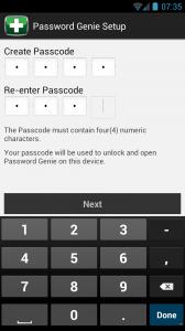 Password Genie Create passcode