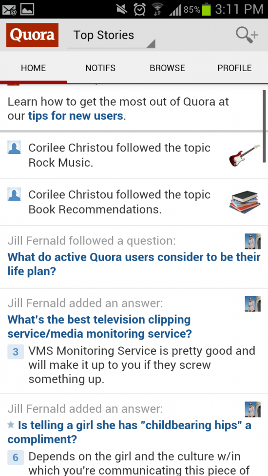 Quora – the official Android app for the Questions & Answers social network