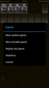 Solitaire - New game options