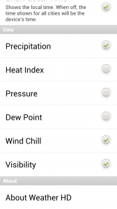 Weather HD - Info preferences