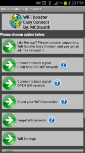 WiFi Easy Boost Menu