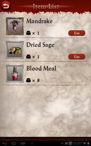 Blood Brother Item List
