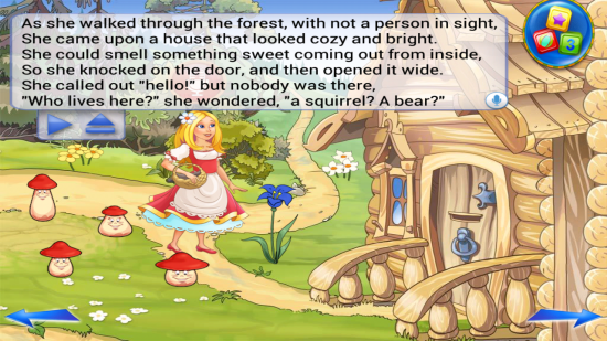 Goldilocks & the Three Bears Book. A story book app that can read to kids, filled with interactive games