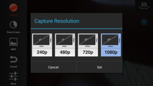 Lapse It Pro - Adjust resolution
