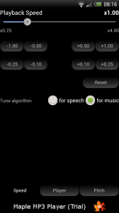 Maple Lite for Audiobooks - Playback speed settings