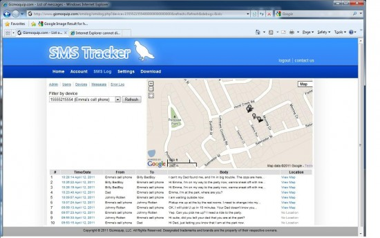 SMS Tracker – secretly track Text & Picture Messages, Calls, Locations & visited Websites