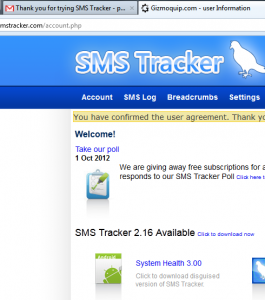 SMS Tracker - Account
