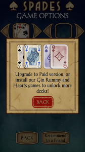 Spades Free Either Purchase New Deck or Install Another Game to get it