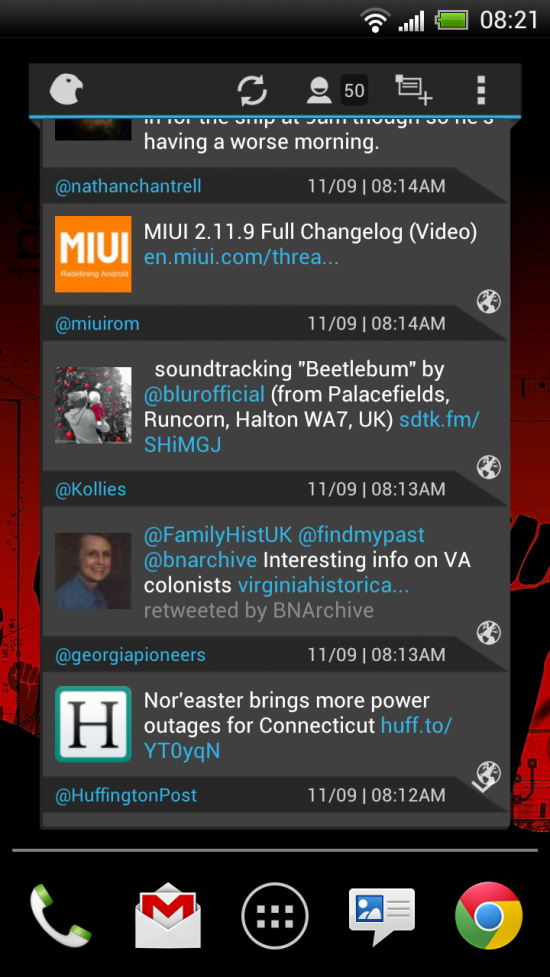 Falcon for Twitter – one powerful Twitter widget for your homescreen