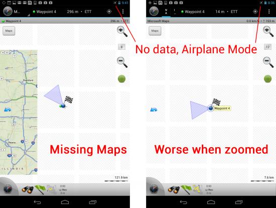 Maverick Pro Maps Don't Load Correctly Without Internet - Comparison